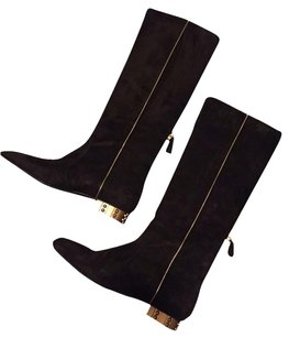 Chanel Black with Gold Piping Boots