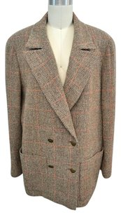 Chanel Boutique Red Plaid Wool Brown Jacket