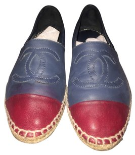Chanel Blue and Red Flats