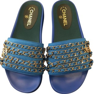 Chanel blue Mules