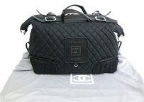 Chanel Boston Nylon/harako Satchel in Black