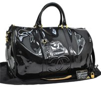 Chanel Boston In Patent Leather Black Travel Bag