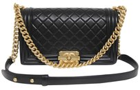 Chanel Brushed Gold Hardware Black Messenger Bag