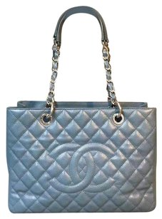 Chanel Caviar Gst Grand Shopping Tote in Sky blue