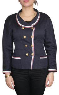 Chanel Cc Gold Red Navy Blue Blazer