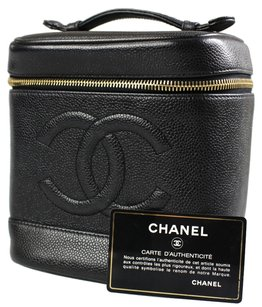 Chanel Cc Hand Cosmetic Black Travel Bag