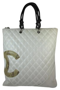 Chanel Cc Logo Leather Snakeskin Tote