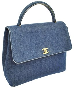 Chanel Cc Logos Hand Tote in Blue, Gold