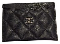 Chanel Chanel 17S so black' calfskin flat card case