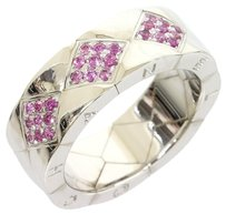 Chanel Chanel 18K White Gold Wide Quilted Matelasse Pink Sapphire Ring US7 EU54