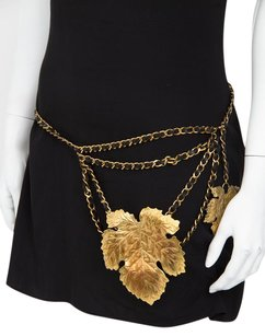 Chanel Chanel 1992 Vtg Black Leather Chain Gold Metal Vine Fig Leaf Waist Belt Sml