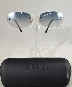 Chanel Chanel 4002 Silver Rimless Blue Gray Lens Cc On Lens Sunglasses