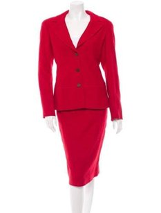 Chanel Chanel 98a Classic Womens Red Wool Tweed Jacket Blazerpencil Skirt Suit 364s