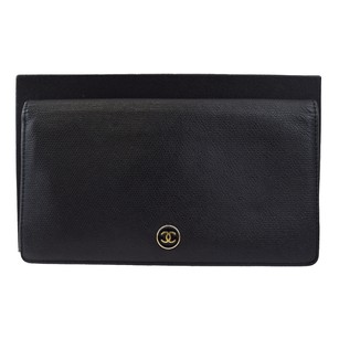 Chanel CHANEL Bifold Wallet Purse Leather Black