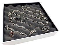 Chanel Chanel Black CC Silver Necklace Belt Chain