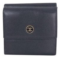 Chanel CHANEL Black Leather Bifold Wallet