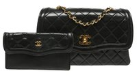 Chanel Chanel Black Quilted Lambskin Vintage Flap Handbag with Wallet