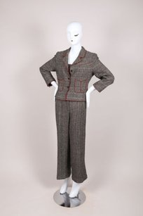 Chanel Chanel Black Red Cotton Blend Tweed Piece Pant Suit