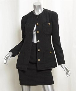 Chanel Chanel Black Wool Silk Gold Cc Logo Vintage Skirt Suit Outfit Sz.36