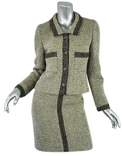 Chanel Chanel Boutique Brownbeige Vintage Tweed Suit Pencil Skirtjacket Blazer 436