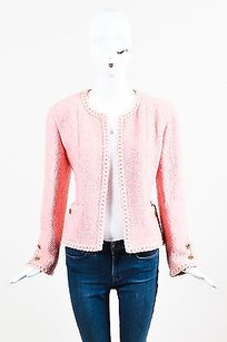 Chanel Chanel Boutique Pink Boucle Tweed Braided Embroidery Ls Collarless Blazer