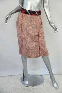 Chanel Chanel Boutique Womens Silk Vintage Red Tweed Plaid Cuff Skirt Suit Outfit