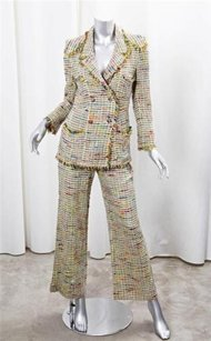 Chanel Chanel Boutique Womens Yellow Tweed Blazer Jacketflare Pant Suit Outfit 364
