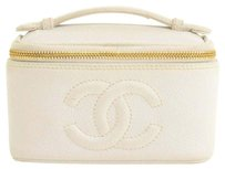 Chanel Chanel Caviar Leather White Cosmetic Bag