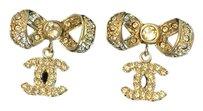 Chanel Chanel CC Bow Dangle Stud Earrings in Gold & Crystals