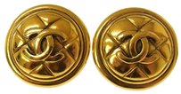 Chanel CHANEL CC Gold Button Earrings Clip-On France