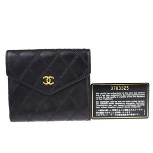 Chanel CHANEL CC Quilted Leather Bifold Wallet Purse