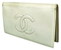 Chanel CHANEL CC WHITE CAVIAR SKIN LEATHER LONG CLUTCH WALLET PURSE