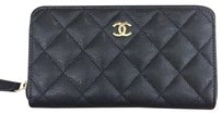 Chanel Chanel Classic Zip Around Wallet in Black Caviar Leather