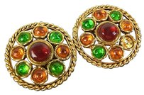 Chanel Chanel Gold and Gem Clip On Earrings