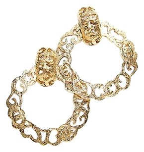 Chanel Chanel Gold Cc Design Hoop Vintage Clip On Earrings