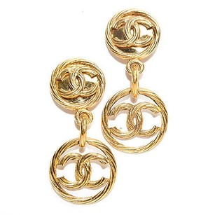 Chanel Chanel Gold Cc Drop Hoop Cc Vintage Clip On Earrings