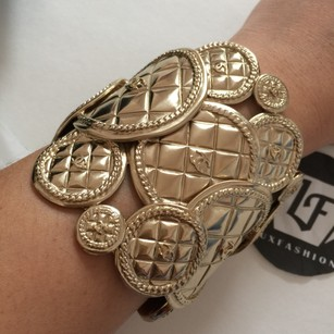 Chanel Chanel Gold Coin Quilted Medallion Cuff Bangle Bracelet RARE