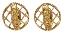 Chanel Chanel Gold Horizontal Logo Round Clip On Earrings
