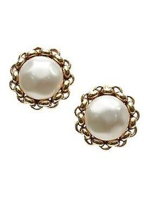 Chanel Chanel Gold-tone Faux Pearl Chain Link Clip-on Earrings