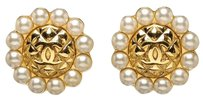 Chanel Chanel Gold Vintage CC Round Pearl Detail Clip On Earrings
