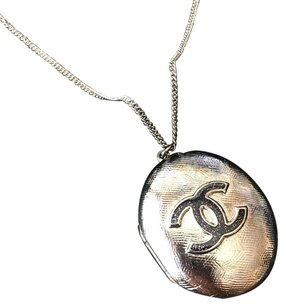 Chanel Chanel Gunmetal Black Glitter Enamel CC Oval Locket Necklace