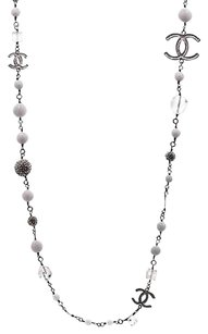 Chanel Chanel Silver-tone Crystal Ice Cube Long Necklace