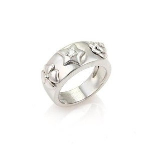 Chanel Chanel Camelia Diamond Star 18k White Gold Band Ring -