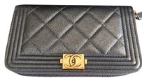 Chanel Chanel Le Boy Zip Around Wallet Metallic Leather 100% AUTHENTIC