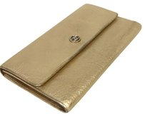 Chanel Chanel Long Singnature CC Button TriFold Long Wallet Champagne Gold