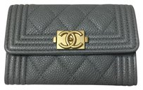 Chanel Chanel O Case Le Boy Card Holder Coin Purse Wallet In Gray Caviar Gold