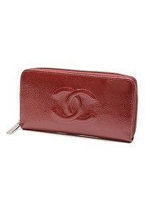 Chanel Chanel Red Patent Caviar Leather Timeless Zipped Wallet