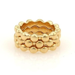 Chanel Chanel Set Of Beaded Stack Band Rings In 18k Yellow Gold