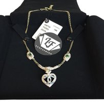 Chanel Chanel Silver Crystal Strass Heart CC RUNWAY NECKLACE 2016 Fall/Winter Act 2