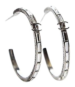 Chanel Chanel Silver Runway Crystal Cc Logo Hoop Pierced Earrings